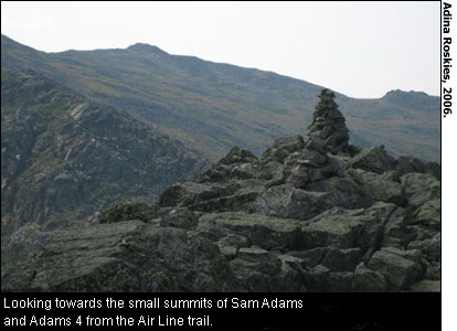 Looking towards the small summits of Sam Adams and Adams 4 from the Air Line trail. Photo from Adina Roskies, 2006.