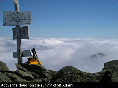 Above the clouds on the summit of Mt. Adams.